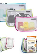 TRAVELON 43108 SET OF 3 ASSORTED PIPED POUCHES