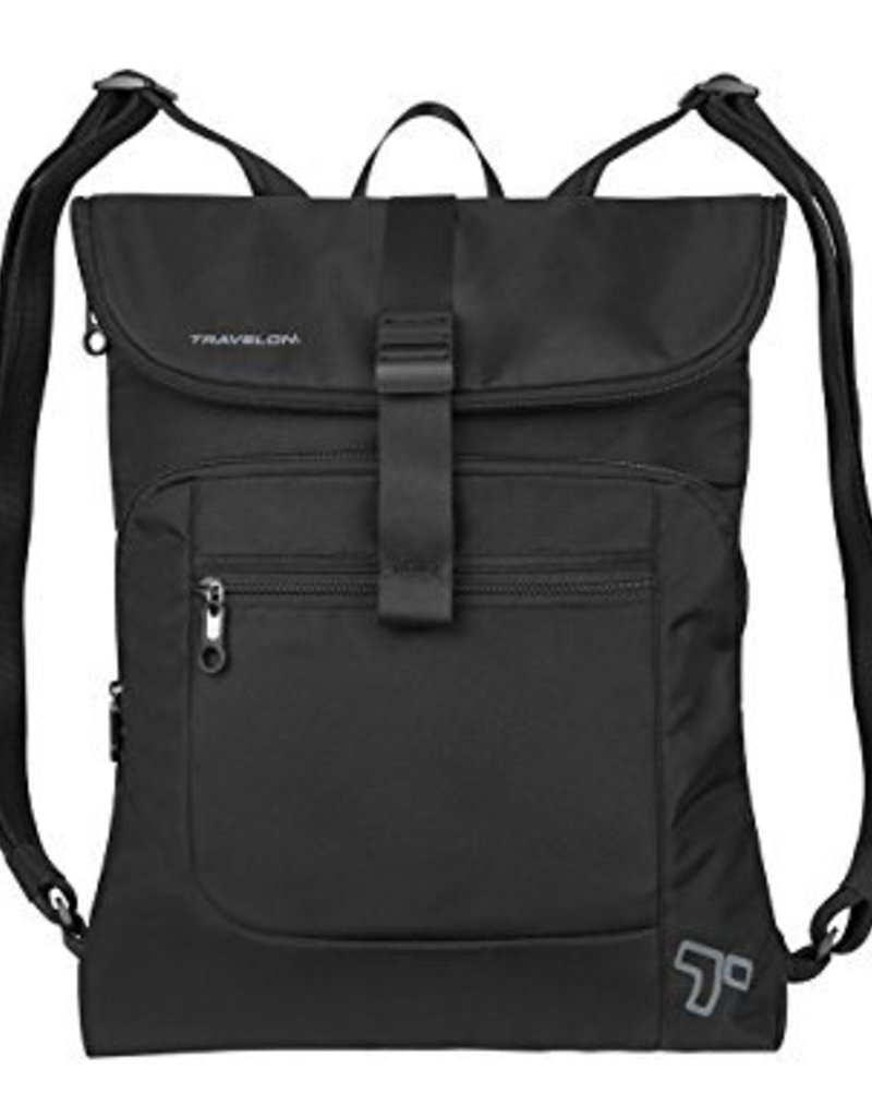 TRAVELON 42954 ANT-THEFT URBAN FLAP-OVER BLACK BACKPACK