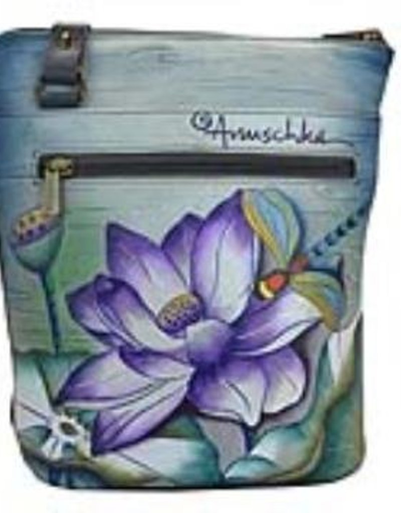 ANUSCHKA 493 TQP LEATHER TWO SIDED ZIP PURSE TRANQUIL POND