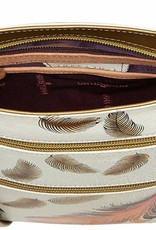 ANUSCHKA 447 FFT LEATHER COMPACT CROSSBODY FLOATING FEATHERS IVORY
