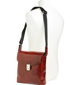 BOSCA DARK BROWN FLAPOVER ITALIAN LEATHER SATCHEL