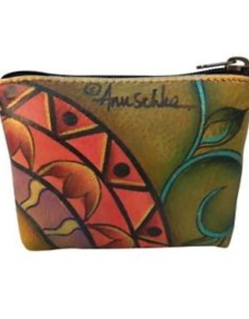 ANUSCHKA 1031 PWG  LEATHER COIN POUCH PATCHWORK GARDEN