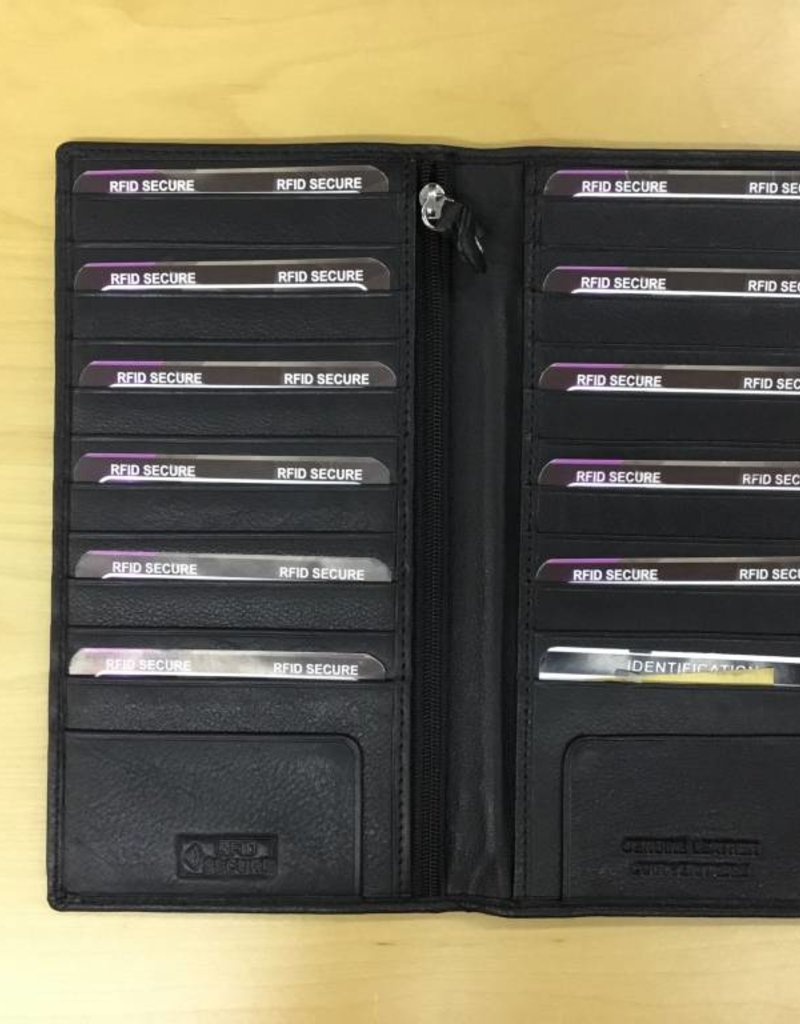 SGI LEATHERGOODS 621 RFID BLACK LONG CARD CASE