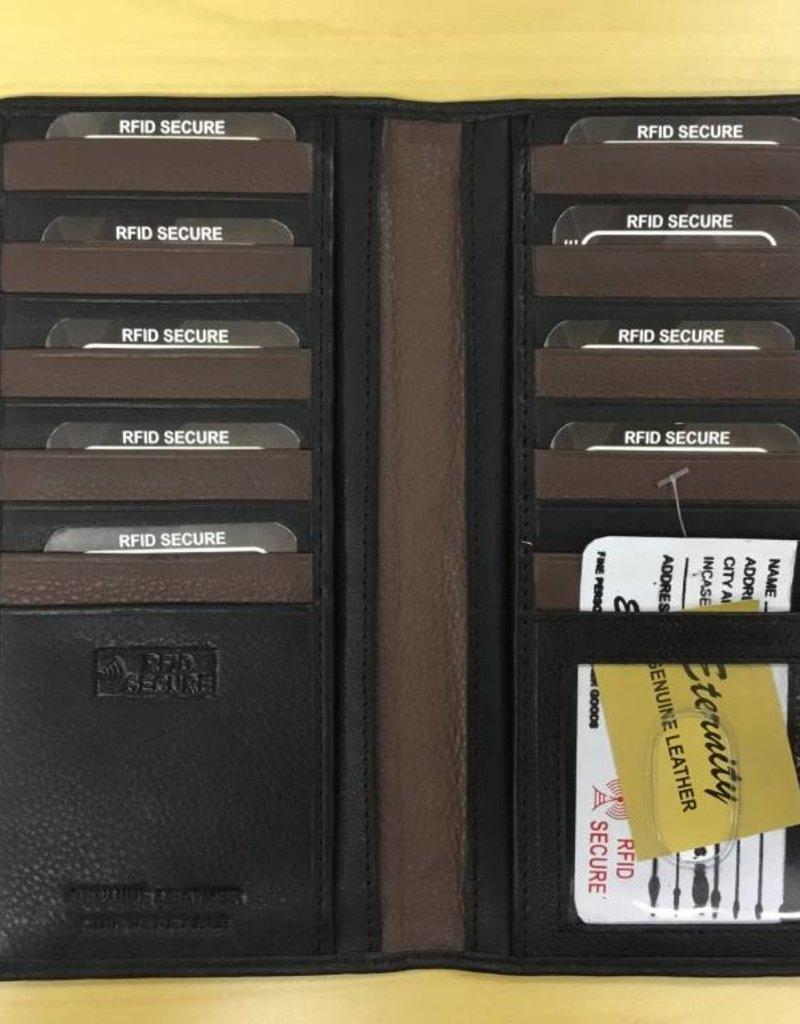 SGI LEATHERGOODS 4003 (L) RFID BLACK COMBO LONG WALLET
