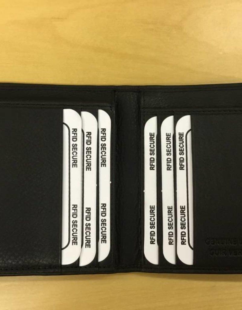 SGI LEATHERGOODS LEATHER RFID WALLET 635 BLACK