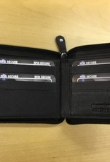 SGI LEATHERGOODS 609 BLACK RFID ZIP MENS WALLET