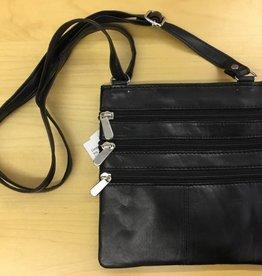 SGI LEATHERGOODS 307 BLACK LEATHER SHOULDER BAG
