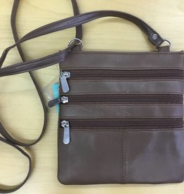 SGI LEATHERGOODS 307 TAN LEATHER SHOULDER BAG