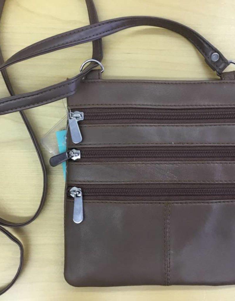 SGI LEATHERGOODS 307 TAN LEATHER SHOULDER BAG