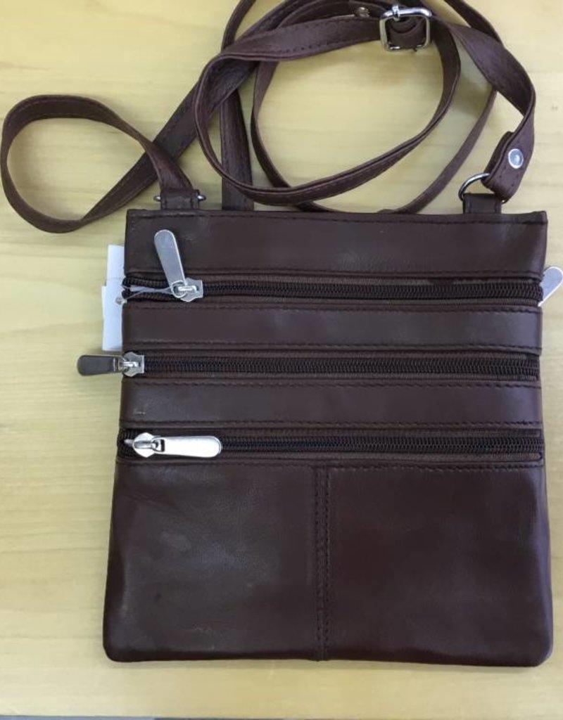 SGI LEATHERGOODS 307 BROWN LEATHER SHOULDER BAG