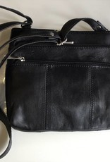 SGI LEATHERGOODS 308 BLACK LEATHER SHOULDER BAG