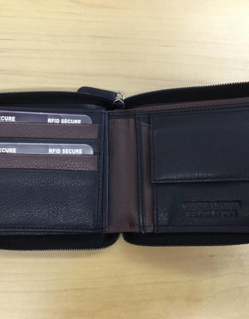 SGI LEATHERGOODS 609 MULTI  RFID ZIP MENS WALLET