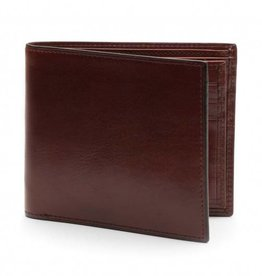 BOSCA DARK BROWN ITALIAN BIFOLD LEATHER WALLET