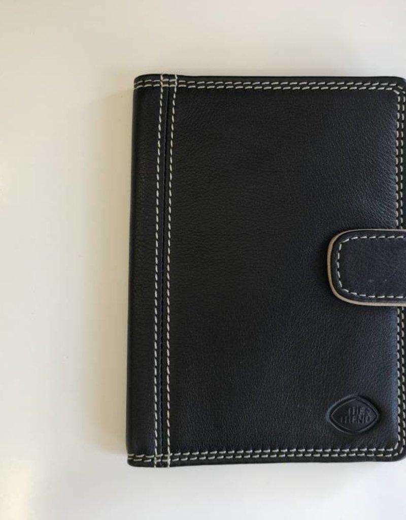 TREND 587535 SHORT PASSPORT WALLET BLACK-TAN RFID