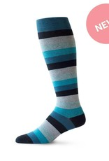 TOP & DERBY LIGHTENING RIDE MEDIUM STRIPE COTTON COMPRESSION SOCK