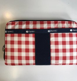 LESPORTSAC LE SPORTSAC EVERYDAY WALLET GINGHAM CLASSIC RED