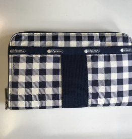 LESPORTSAC LE SPORTSAC EVERYDAY WALLET GINGHAM CLASSIC NAVY