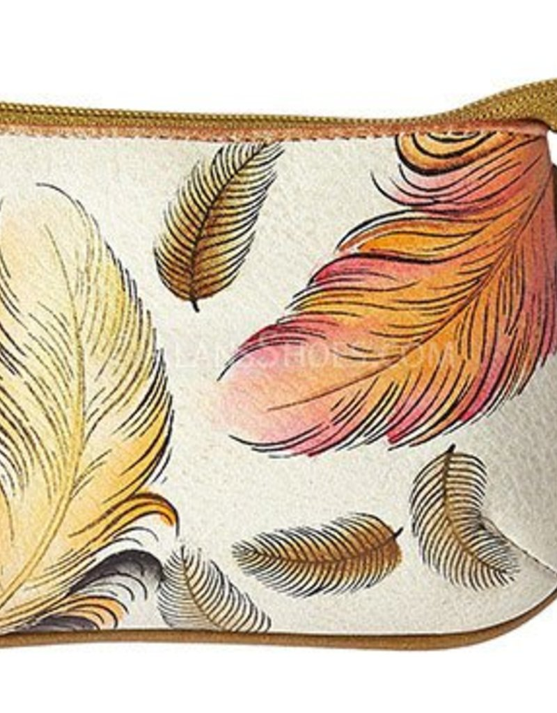 ANUSCHKA 1107 FFT LEATHER COIN PURSE FLOATING FEATHERS