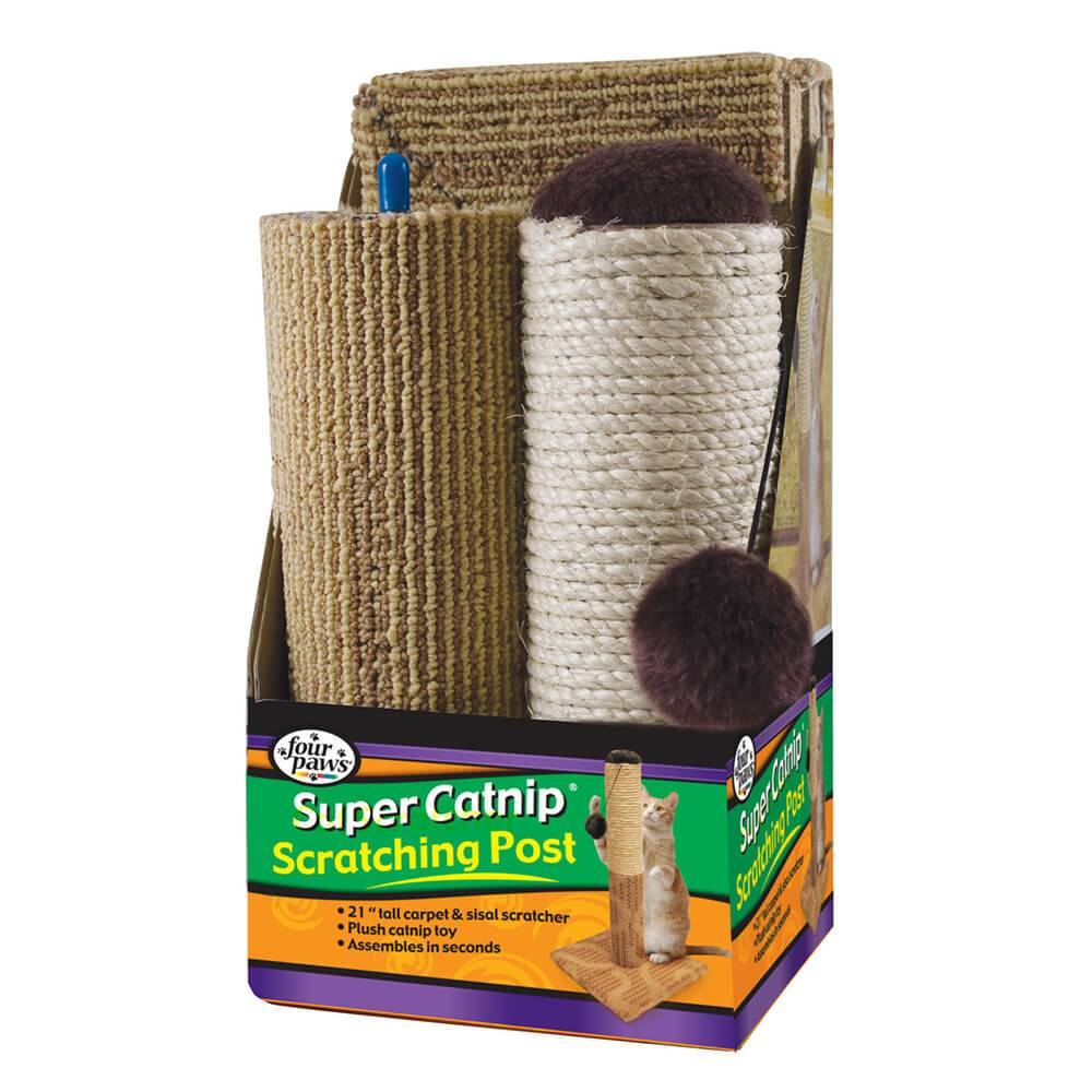 """Four Paws Products Four Paws Super Catnip 21"""" Carpet and Sisal Scratching Post 3pc"""