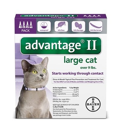 Bayer Healthcare Advantage II For Cats Purple 9+ Lb. 4pk