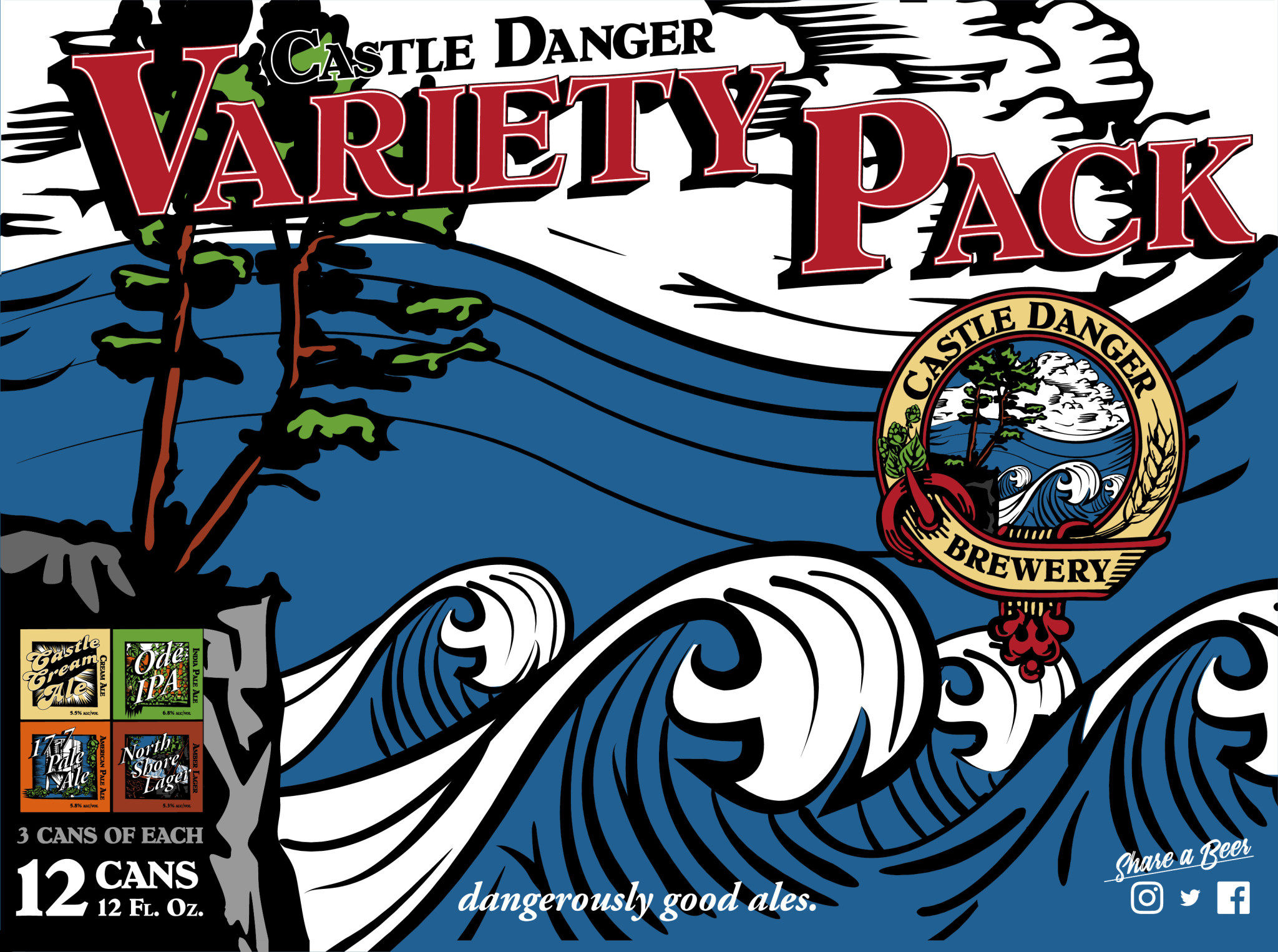 Castle Danger Brewery CASTLE DANGER BREWING VARIETY 12 PK CANS