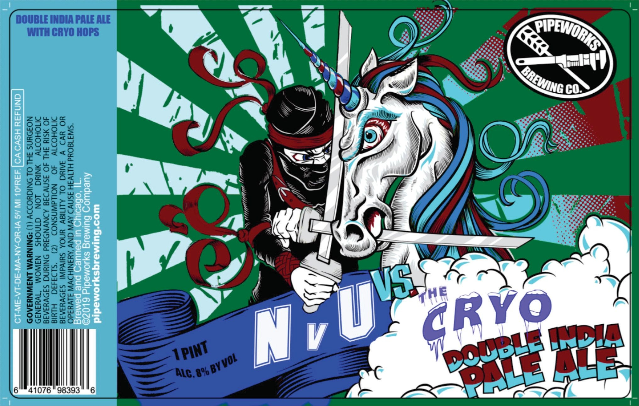 Pipeworks PIPEWORKS BREWING NINJA VS UNICORN CRYO DOUBLE IPA 4 PK CANS