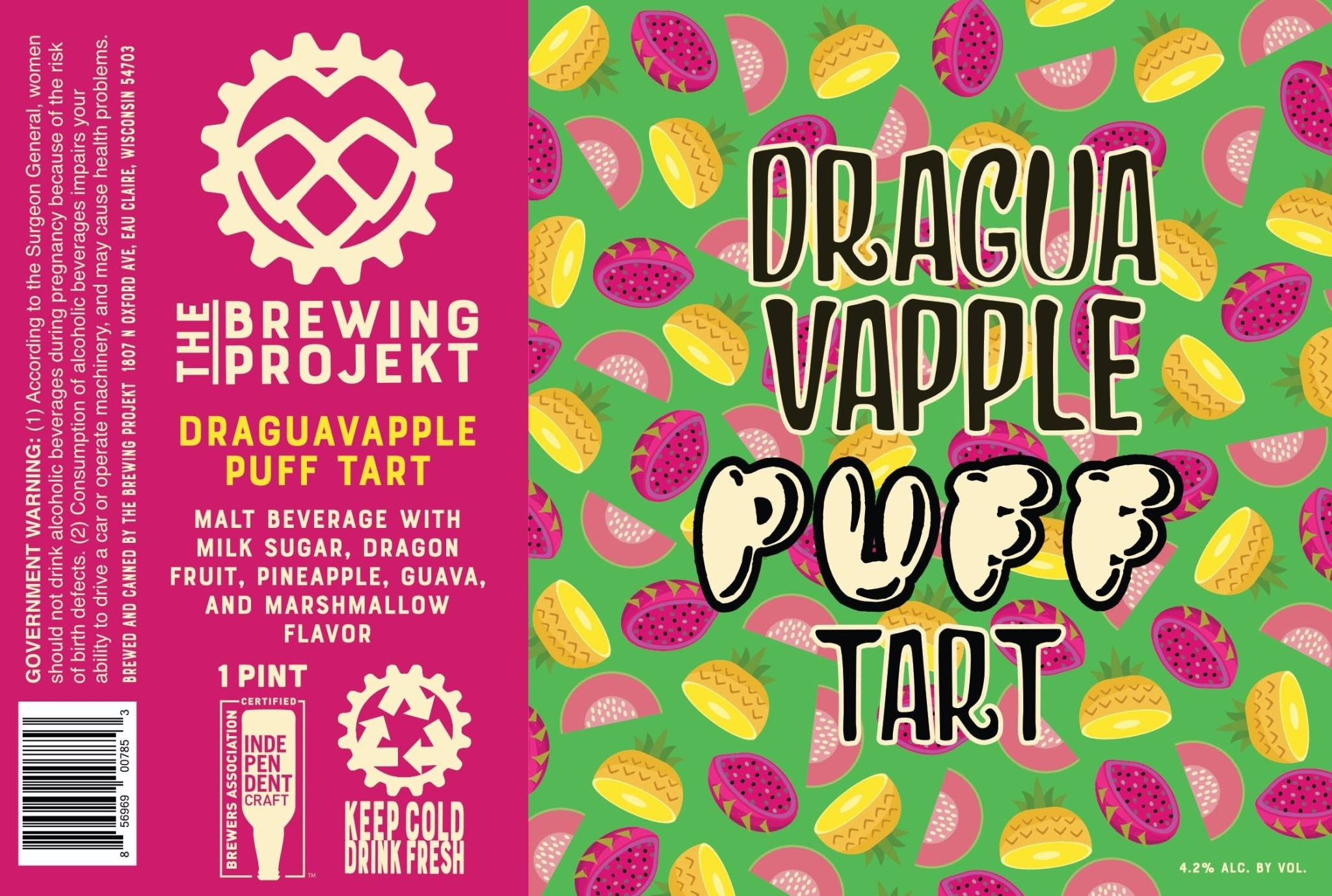 The Brewing Projekt THE BREWING PROJEKT DRAGUAVAPPLE PUFF TART KETTLE SOUR 4 PK CANS