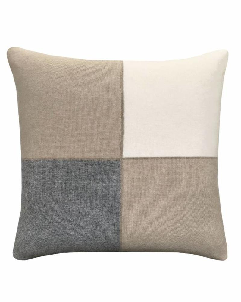 "CASHMERE BLEND 4 CHECKS PILLOW: 21"" X 21"": IVORY-SAND-GRAY"