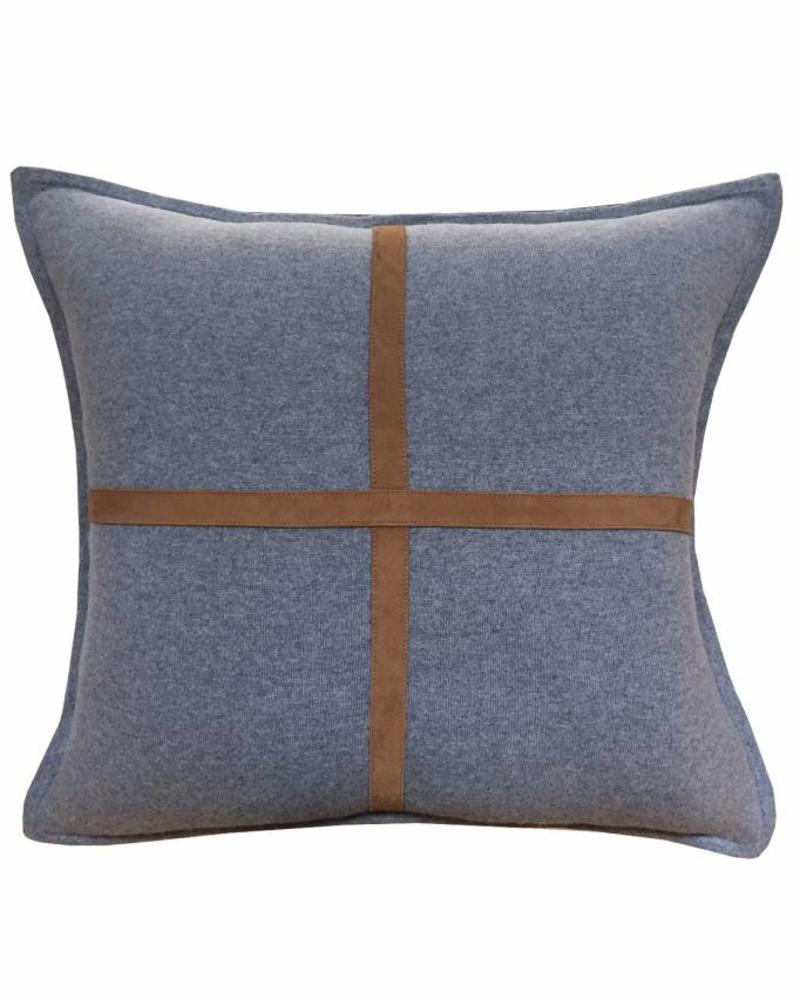 "PALERMO CASHMERE PILLOW WITH CROSS SUEDE: 21"" X 21"":  DENIM"