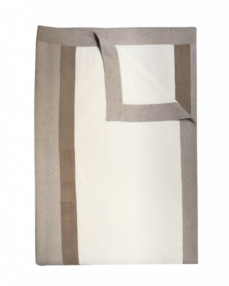 "LONDON CASHMERE THROW WITH SUEDE DETAIL: 52"" X 72"":  IVORY-SAND"
