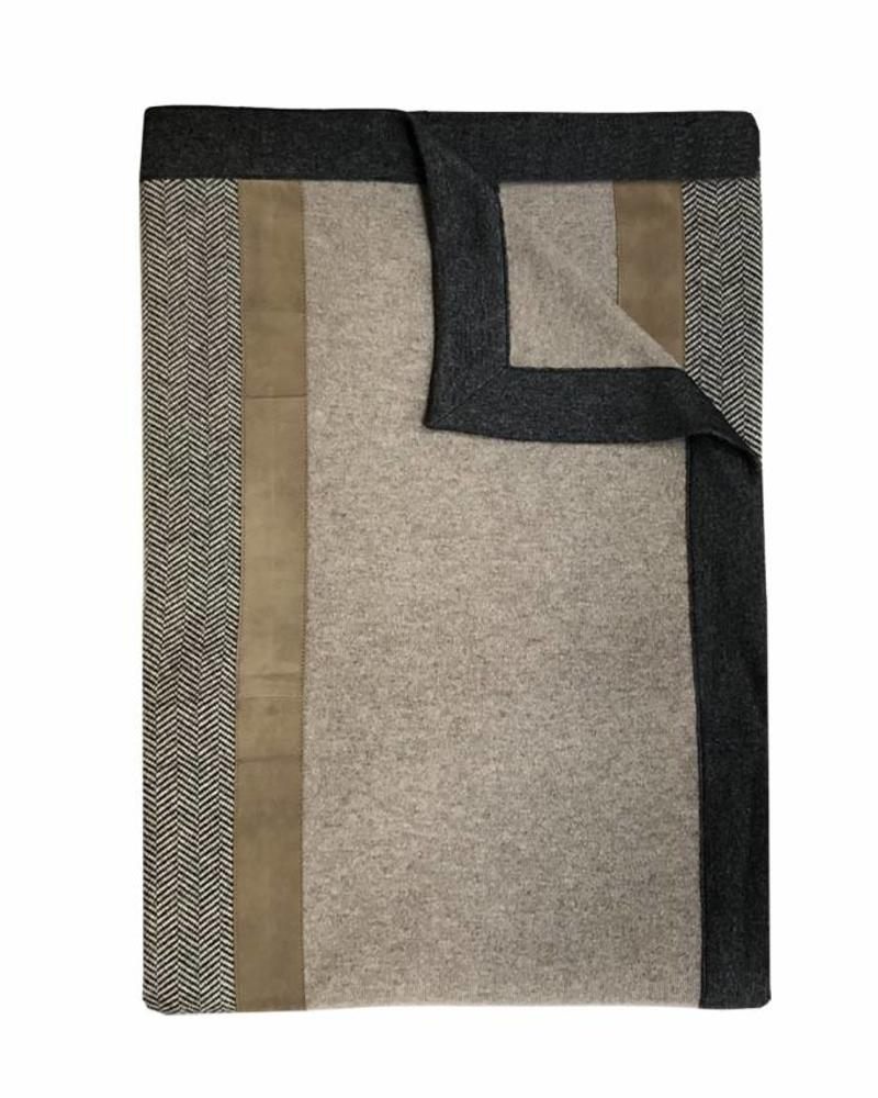 "LONDON CASHMERE THROW WITH SUEDE DETAIL: 52"" X 72"": GRAY-TAUPE"