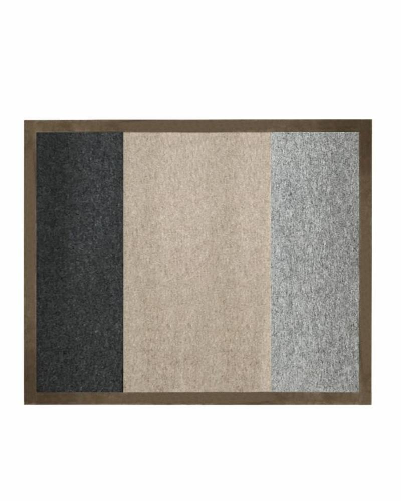 "STANFORD THROW WITH SUEDE BORDER: 52"" X 72"": GRAY-BEIGE-ANTHRACITE"