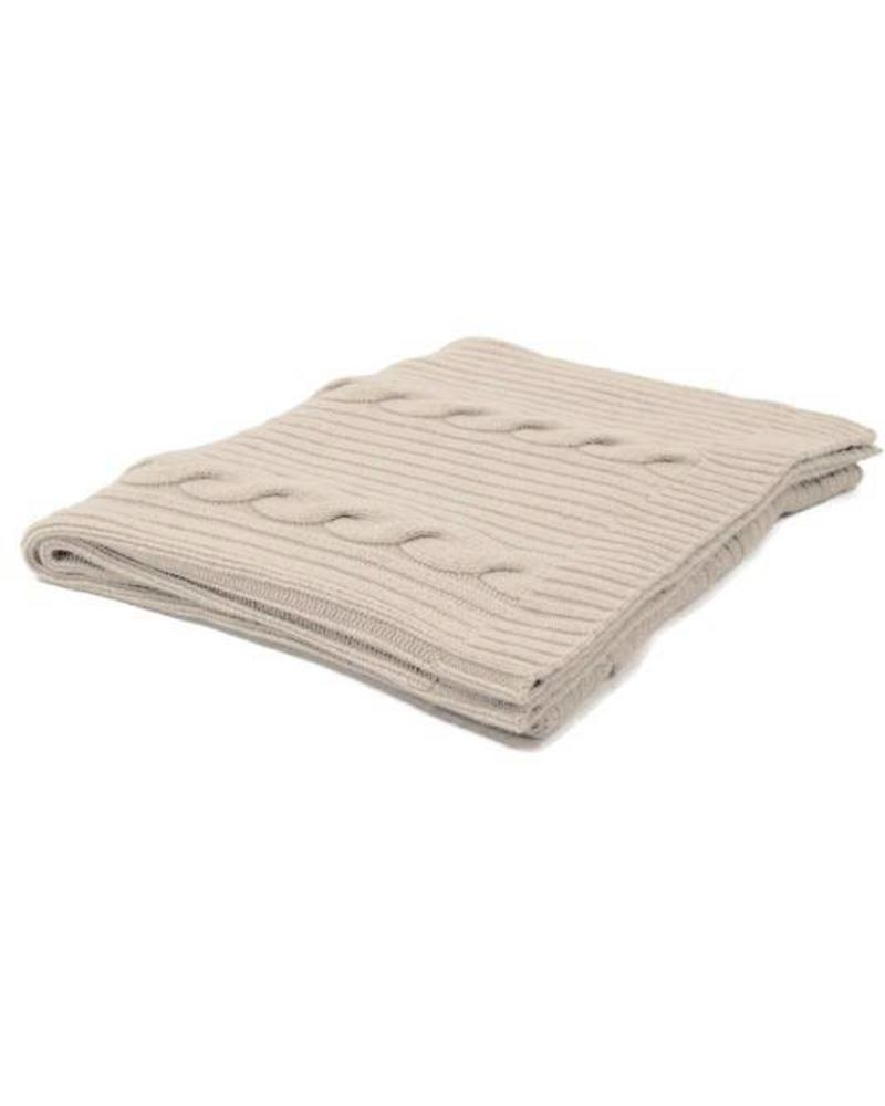 "CASHMERE ROMA CABLE KNIT THROW: 50"" X 72"": SAND"