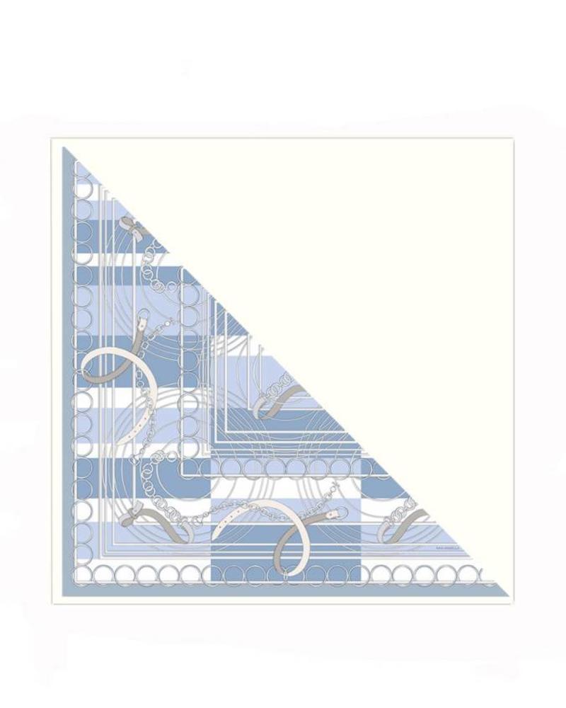 VENEZIA BLUE SILK PRINTED TRIANGLE - IVORY CASHMERE SCARF