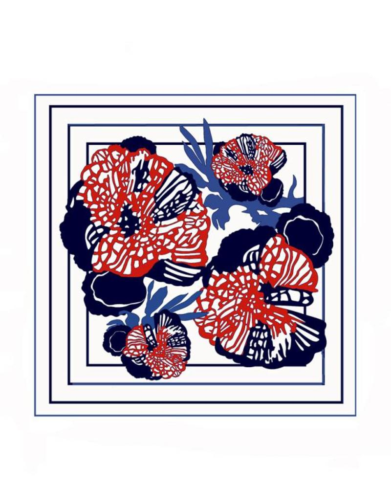 PRINTED CASHMERE SCARF: FLOWERS: IVORY-RED-BLUE-BLACK
