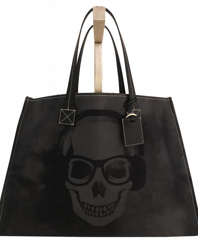 PRINTED CANVAS BEACH BAG: SKULL: BLACK