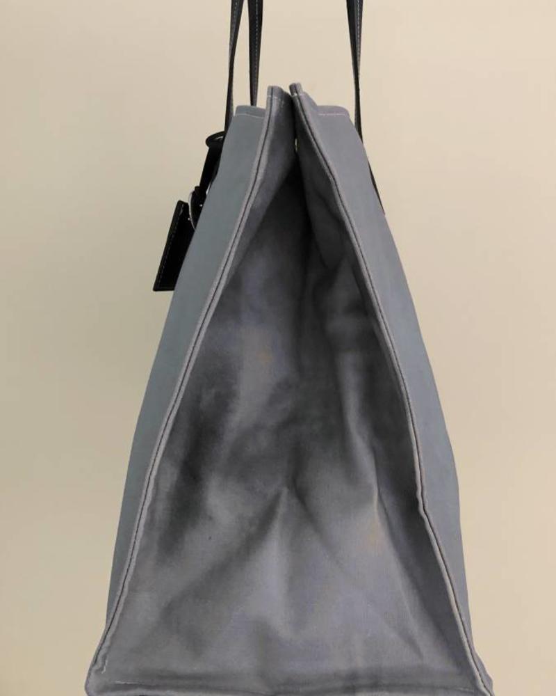 PRINTED CANVAS BEACH BAG: SKULL: BLUE
