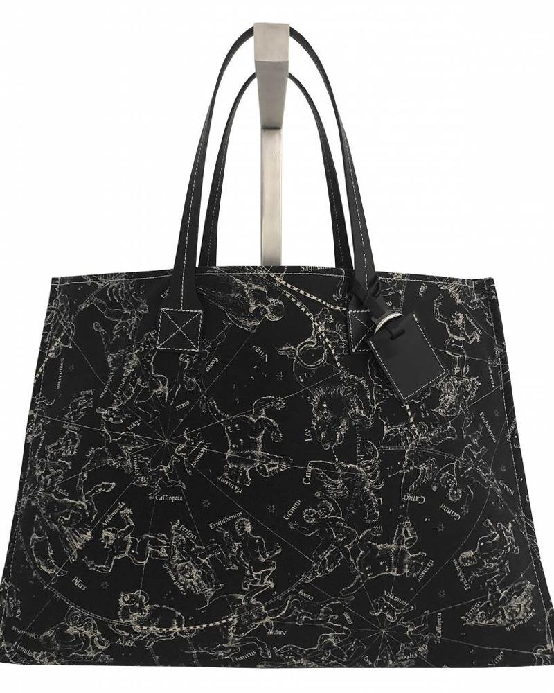 PRINTED CANVAS BEACH BAG: CONSTELLATION: BLACK