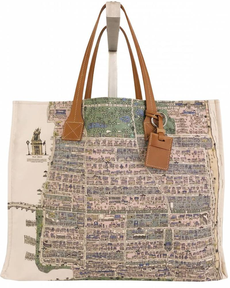 PRINTED CANVAS BEACH BAG: PALM BEACH: LILAC-GREEN