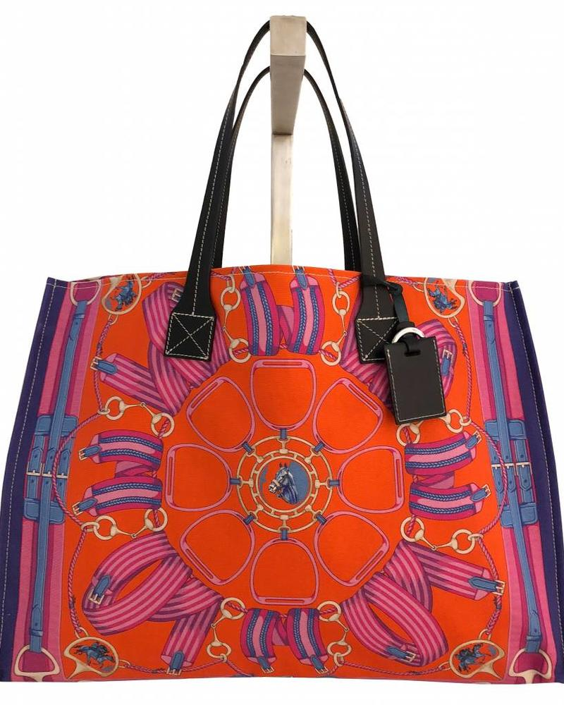 PRINTED CANVAS BEACH BAG: STIRRUPS: TWILIGHT BLUE