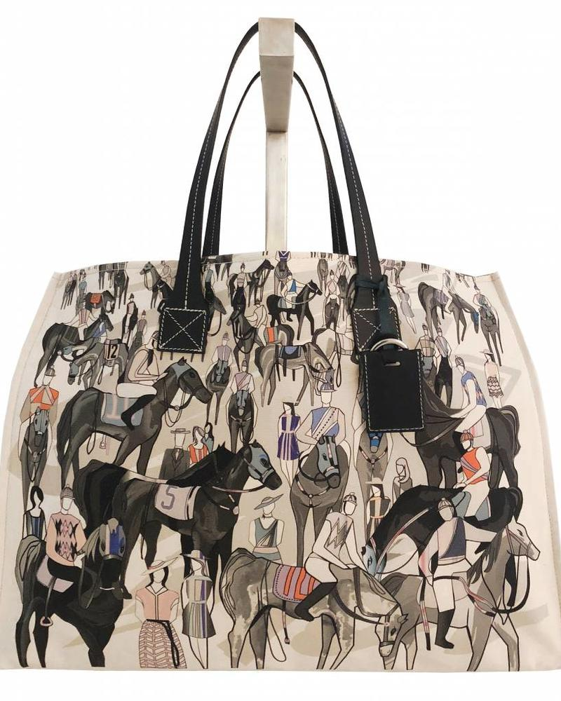 PRINTED CANVAS BEACH BAG: AFTER THE RACE: BLUE