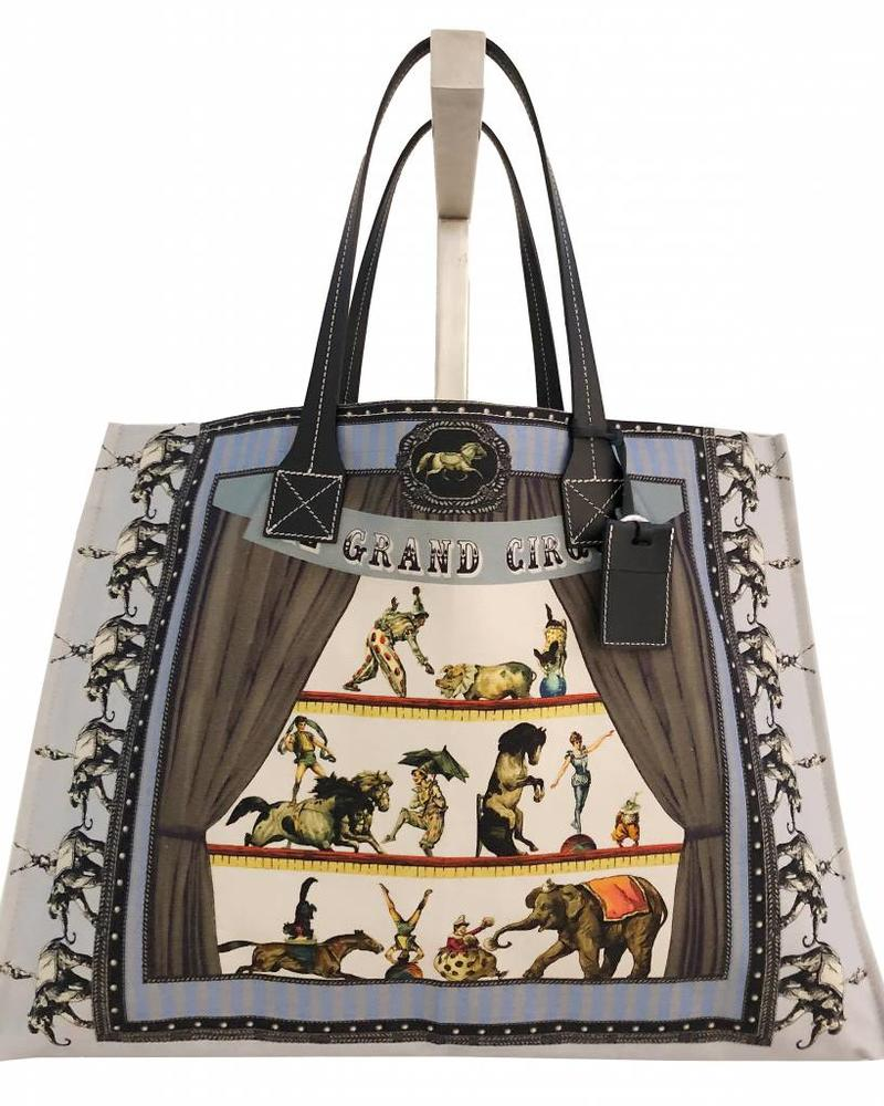 PRINTED CANVAS BEACH BAG: CIRCUS: BLUE