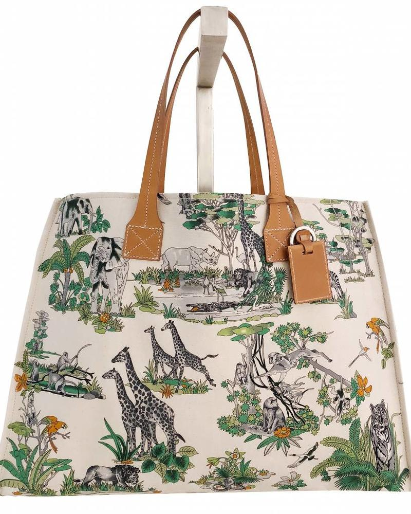 PRINTED CANVAS BEACH BAG: SAFARI: LIME
