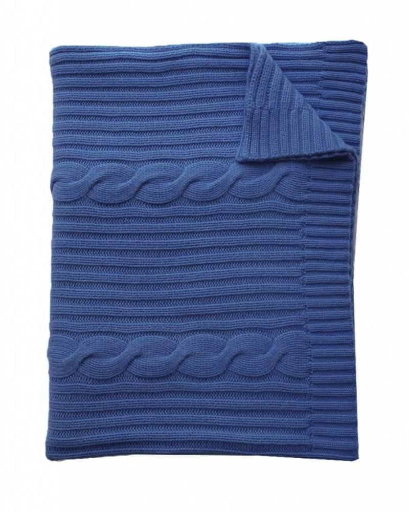 "CASHMERE ROMA CABLE KNIT THROW: 50"" X 72"":  SAPPHIRE"