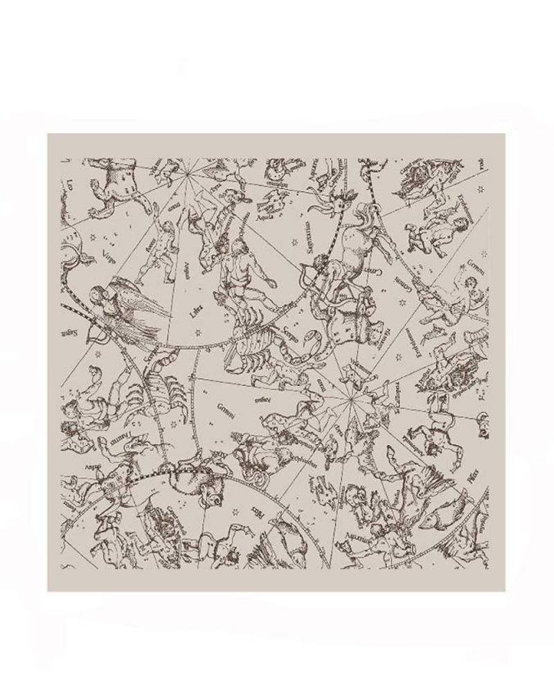 PRINTED CASHMERE SCARF:  CONSTELLATION: BEIGE