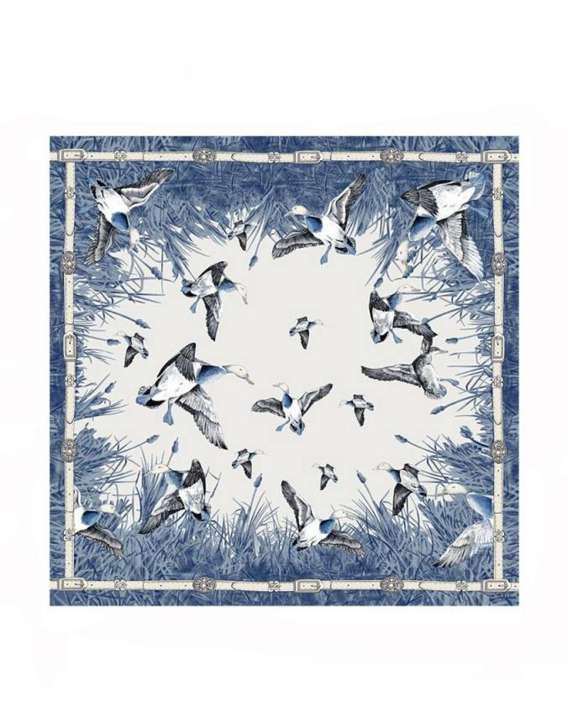 CASHMERE PRINTED SCARF: DUCK: BLUE