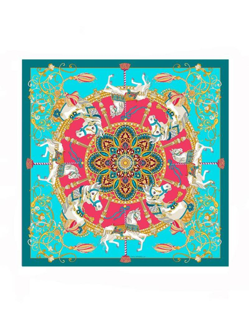 PRINTED CASHMERE SCARF: TOY HORSES: TURQUOISE