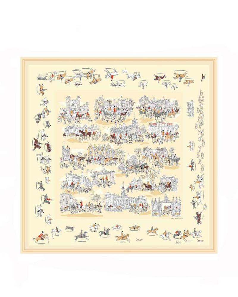 PRINTED CASHMERE SCARF: PALIO DI SIENA: BUTTER-YELLOW