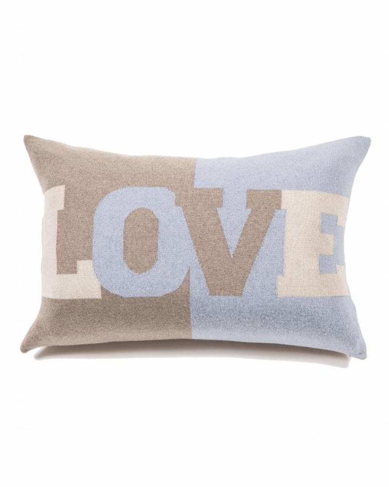 "LOVE PILLOW: CASHMERE BLEND: 16"" X 24"": LIGHT BLUE-IVORY-SAND"