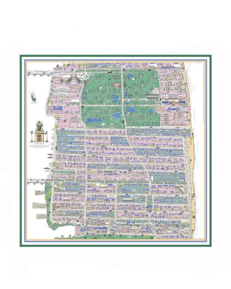 PRINTED LINEN SCARF: PALM BEACH: LILAC-GREEN